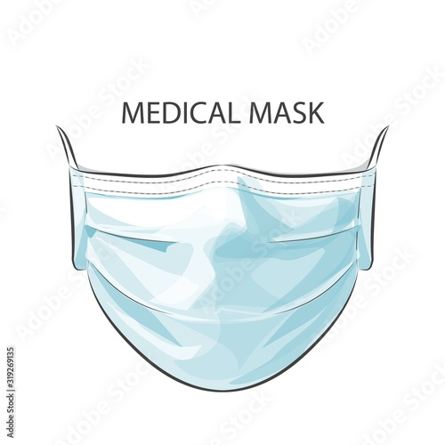 Vector person wearing disposable medical surgical face mask to protect against h Tablou Canvas