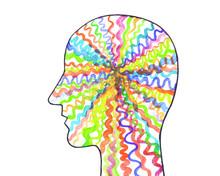 Disegno Grafico Neuroni, Sistema Nervoso, Psicologia. Sfondo Bianco.