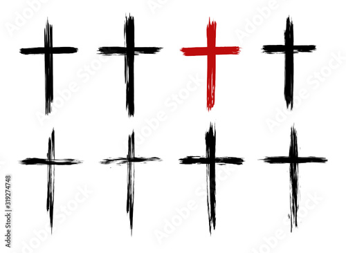 Slika na platnu Christian cross of Jesus Christ, hand drawn, Cross symbol of crucifixion and faith