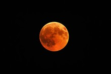 Beautiful Shot Of A Red Moon, Total Lunar Eclipse With A Black Night Sky In The Background