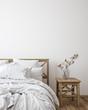 canvas print picture Scandinavian farmhouse bedroom interior, wall mockup, 3d render