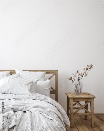 obraz lub plakat Scandinavian farmhouse bedroom interior, wall mockup, 3d render