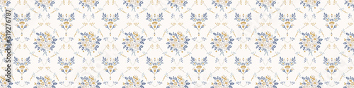 French damask shabby chic floral linen vector texture border background. Pret...