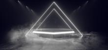 Smoke Fog Dark Showcase Neon Triangle White Studio Laser Glowing Stage Podium Empty Sci Fi Futuristic Modern Cyber Virtual Vibrant Garage Room 3D Rendering