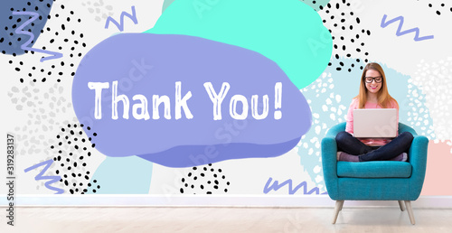 Photo Thank you message with young woman using her laptop in a chair