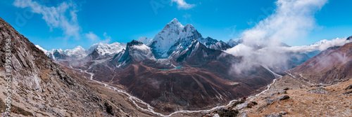 Photo Panoramic view of Ama Dablam and Himalayan Mountains from Nangkar Tshang View Po