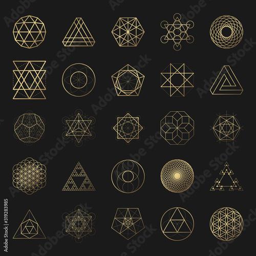 Sacred geometry golden vector design elements collection Fototapete