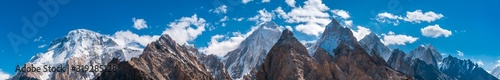 Obraz Panoramic view of Karakoram mountains range with Broad Peak, Gasherbrum (in the middle) from Vigne Glacier, on the way to Ali Camp, Pakistan - fototapety do salonu