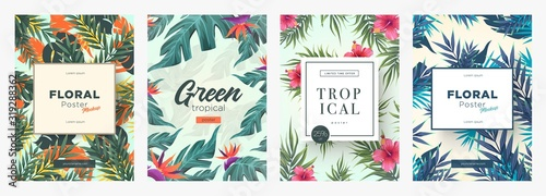 Obraz Set of Bright tropical backgrounds with jungle plants. Exotic patterns with tropical leaves - fototapety do salonu