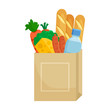 Paper package with products. Baguette bread, cheese, water bottle, carrots, broccoli and sausages. Vector illustration