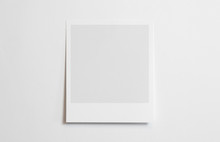 Blank Polaroid Photo Frame With Soft Shadows Tape Isolated On White Paper Background As Template For Graphic Designers Presentations, Portfolios Etc.