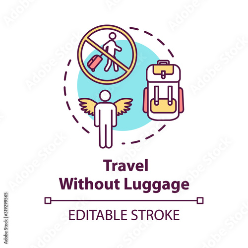 Photo Travel without luggage concept icon