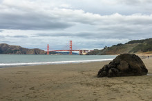 The Golden Gate Bridge From Baker Beach In San Francisco California