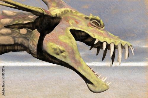 Photo Dessin, Gros plan sur la tête d'un monstre