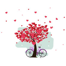 Illustration Of Love And Valentine Day, Bike And A Tree Made Out Of Hearts. Paper Art And Digital Craft Style.
