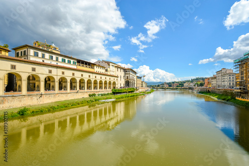 The Uffizi Gallery and the Arno River taken from the Ponte Vecchio bridge on the Canvas Print