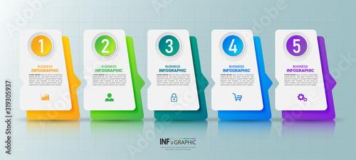 Obraz 5 Steps timeline Infographics design template. - fototapety do salonu