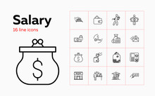 Salary Icons. Set Of Line Icon...