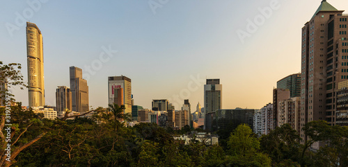 Hong Kong skyline view from Kowloon Park Canvas Print