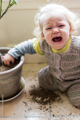 bébé fille en colère avec un pot de fleurs Wallpaper Mural