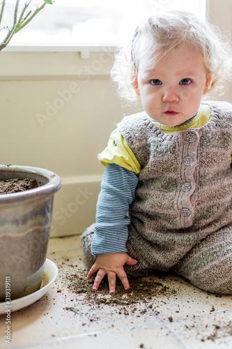 Photo bébé fille joue avec un pot de fleurs