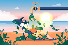 Money Faucet - Man On Beach Enjoying A Pile Of Money Raining Down From Water Faucet. Open Valve With Dollar Bills, Beautiful View With Sunrise In Background. Passive Income, Salary & Profits Concept.