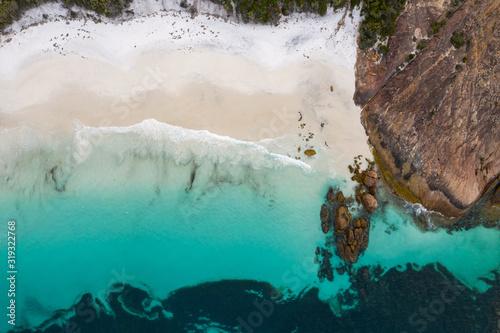 Aerial view of Little Hellfire Bay in Cape Le Grand National Park, Esperance, We Fototapet