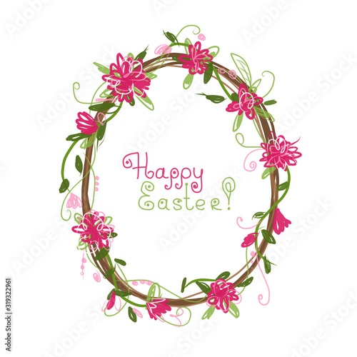 Fotomurales - Happy Easter! Floral frame for your design
