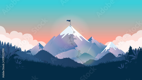 Goal on top of mountain - Mountain peak with flag on summit, and trail to the top Wallpaper Mural