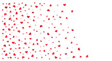 Red Hearts Confetti Background.