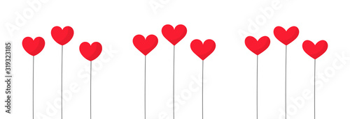 Cute hearts baloons isolated on white background