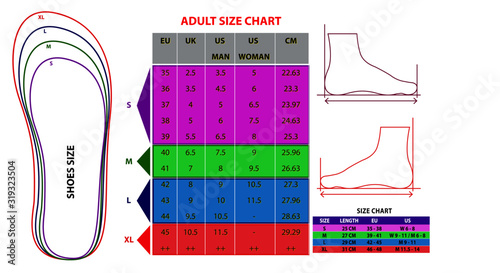 Photo set of shoes chart size or socks chart size or measurement foot chart concept