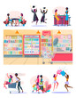 Female friends set. Two women eating in cafe, drinking in bar, shopping, grocery shop. Flat vector illustrations. Friendship, having fun concept for banner, website design or landing web page