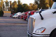 Truck Stop. A Row Of Trucks Du...