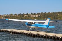 Seaplane Prepared For Take-off. Lake Washington, Redmond. USA.