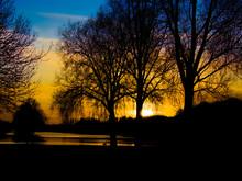 Sunset Image At Peterborough Boating Lake, Cambridgeshire, UK