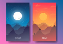 Day And Night Landscape,Desert...