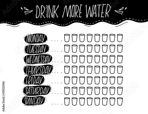 Stampa su Tela Simple water tracker with 8 glasses every day of week