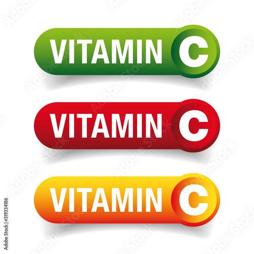 Photo Vitamin C healthy button set