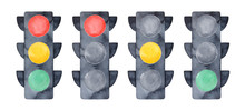 Illustration Set Of LED Traffic Lights With All Three Colors On And Showing Red, Yellow And Green Lights. Handdrawn Watercolour Graphic Drawing, Cutout Clipart Elements For Design, Print, Sticker.