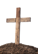 Wooden Cemetery Cross And Soil...