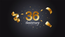 36th Anniversary Celebration Gold Numbers With Dotted Halftone, Shadow And Sparkling Confetti. Modern Elegant Design With Black Background. For Wedding Party Event Decoration. Editable Vector EPS 10
