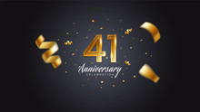 41st Anniversary Celebration Gold Numbers With Dotted Halftone, Shadow And Sparkling Confetti. Modern Elegant Design With Black Background. For Wedding Party Event Decoration. Editable Vector EPS 10
