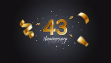 43rd Anniversary Celebration Gold Numbers With Dotted Halftone, Shadow And Sparkling Confetti. Modern Elegant Design With Black Background. For Wedding Party Event Decoration. Editable Vector EPS 10