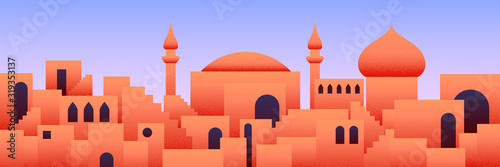Photo Arabic city panorama in orange desert color with mosque silhouettes