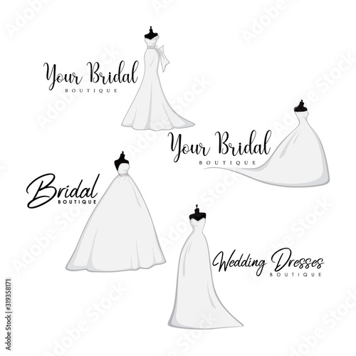 Monochrome Bridal Gowns Boutique Logo Ideas Set, Mannequin, Fashion, Beautiful B Canvas Print