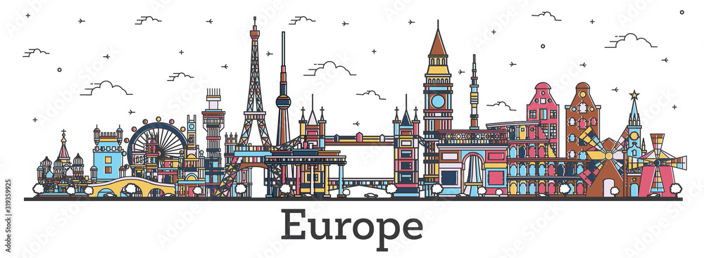 Fototapeta Outline Famous Landmarks in Europe. Business Travel and Tourism Concept with Color Buildings.