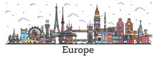 Outline Famous Landmarks In Eu...