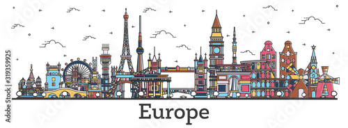 Outline Famous Landmarks in Europe Canvas Print
