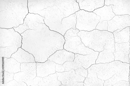 Fotomural crack concrete white wall or Cement wall background